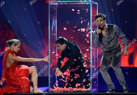"""Farid Mammadov of Azerbaijan performs his song """"Hold Me"""" during a rehearsal for the final of the Eurovision Song Contest at the Malmo Arena in Malmo, Sweden, . The contest is run by European television broadcasters with the event being held in Sweden as they won the competition in 2012, the final will be held in Malmo on May 18"""