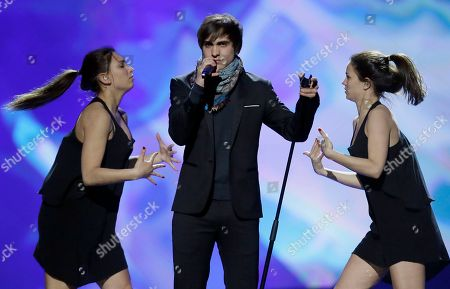 """Stock Image of Belgium's Roberto Bellarosa performs his song """"Love Kills"""" during a rehearsal for the final of the Eurovision Song Contest at the Malmo Arena in Malmo, Sweden, . The contest is run by European television broadcasters with the event being held in Sweden as they won the competition in 2012, the final will be held in Malmo on May 18"""