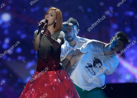 """Stock Picture of Aliona Moon of Moldova performs her song """"O Mie"""" (A Million) during a rehearsal for the final of the Eurovision Song Contest at the Malmo Arena in Malmo, Sweden, . The contest is run by European television broadcasters with the event being held in Sweden as they won the competition in 2012, the final will be held in Malmo on May 18"""