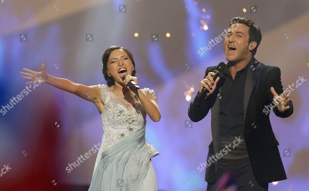 Nodi Tatishvili and Sophie Gelovani of Georgia perform their song Waterfall during the final of the Eurovision Song Contest at the Malmo Arena in Malmo, Sweden, . The contest is run by European television broadcasters with the event being held in Sweden as they won the competition in 2012