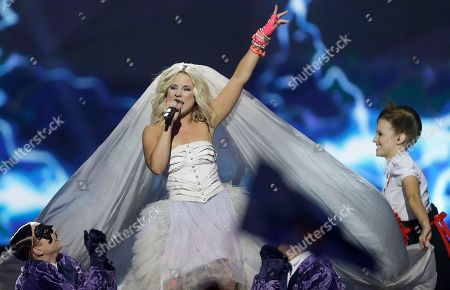 Stock Photo of Krista Siegfrids, of Finland performs her song Marry Me during the final of the Eurovision Song Contest at the Malmo Arena in Malmo, Sweden, . The contest is run by European television broadcasters with the event being held in Sweden as they won the competition in 2012