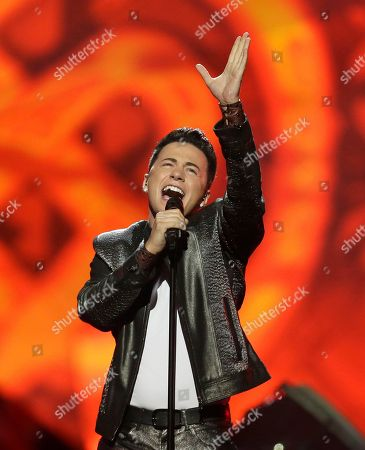 Stock Image of Ryan Dolan of Ireland performes his song Only Your Love Survives during the final of the Eurovision Song Contest at the Malmo Arena in Malmo, Sweden, . The contest is run by European television broadcasters with the event being held in Sweden as they won the competition in 2012