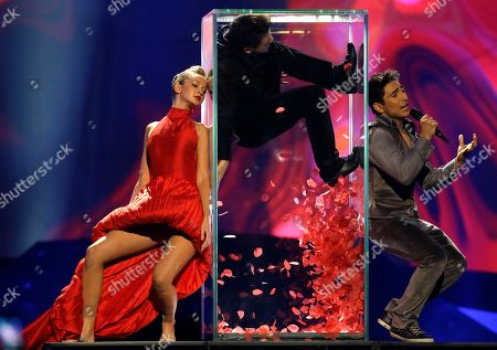 Farid Mammadov of Azerbaijan performs his song Hold Me during the final of the Eurovision Song Contest at the Malmo Arena in Malmo, Sweden, . The contest is run by European television broadcasters with the event being held in Sweden as they won the competition in 2012