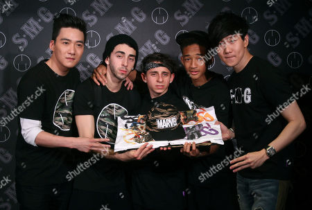 Jaden Smith, JJ Lin, Moises Arias, Mateo Arias, Brandon Chang Singaporean singer JJ Lin, right, U.S. actor Jaden Smith, second right, and their trade copartners, from center to left, Moises Arias, Mateo Arias and Brandon Chang pose for the media during a promotion event of their casual wear in Taipei, Taiwan