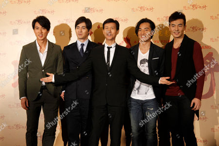 """Wu Chun, Vic Chou, Adam Cheng, Ekin Cheng, Yu Bo Actors left to right; Wu Chun of Taiwan, Vic Chou of Taiwan, Adam Cheng of Hong Kong, Ekin Cheng of Hong Kong and Yu Bo of China, pose for the media at the premier of their film """"Saving General Yang"""" in Taipei, Taiwan, . """"Saving General Yang"""" is a film about the legendary Chinese Yang clan of a father and seven sons going to battle along with 3,000 warriors and events would lead to only one returning"""