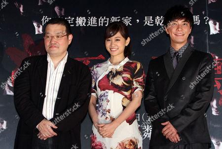 "Atsuko Maeda, Hiroki Narimiya, Hideo Nakata Japanese actress Atsuko Maeda, center, actor Hiroki Narimiya, right, and director Hideo Nakata pose during an event to promote their movie ""The Complex"" in Taipei, Taiwan"