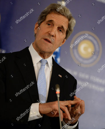 """John Kerry U.S. Secretary of State John Kerry speaks to the media with Turkish Foreign Minister Ahmet Davutoglu and Syrian opposition leader Moaz al-Khatib after a """"Friends of Syria"""" group meeting at the Adile Sultan Palace early, in Istanbul, Turkey. The United States said Sunday that it will double its non-lethal assistance to Syria's opposition as the rebels' top supporters vowed to enhance and expand their backing of the two-year battle to oust President Bashar Assad's regime"""