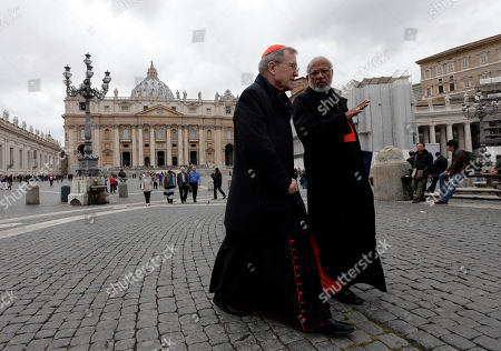 Walter Kasper, George Alencherry German Cardinal Walter Kasper, left, shares a word with Indian Cardinal George Alencherry in St. Peter's Square following a cardinals' meeting, at the Vatican, . Cardinals from around the world are gathered inside the Vatican on the fourth day of meetings before the conclave to elect the next pope, amid scandals inside and out of the Vatican and the continued reverberations of Benedict XVI's decision to retire