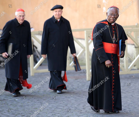 Stock Photo of Francis Arinze Nigerian Cardinal Francis Arinze, right, arrives for a meeting, at the Vatican, . Cardinals from around the world have gathered inside the Vatican for their first round of meetings before the conclave to elect the next pope, amid scandals inside and out of the Vatican and the continued reverberations of Benedict XVI's decision to retire