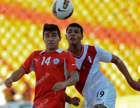 Bryan Rabello, Wilder Cartagena Chile's Bryan Rabello, left, and Peru's Wilder Cartagena go for a header during a U-20 South American soccer championship match in Mendoza, Argentina