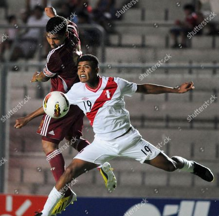 Cartagena Wilder, Josef Martinez Peru's Cartagena Wilder, right, fights for the ball with Venezuela's Josef Martinez during an U-20 South American soccer championship match in San Juan, Argentina