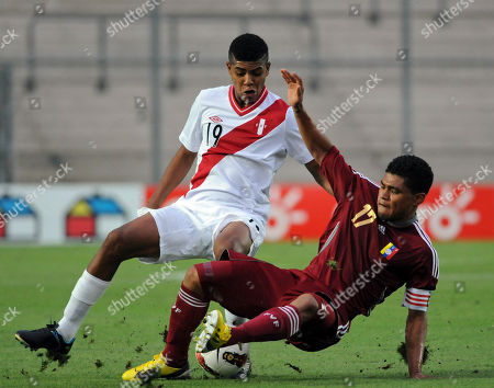 Cartagena Wilder, Josef Martinez Peru's Cartagena Wilder, left, fights for the ball with Venezuela's Josef Martinez during an U-20 South American soccer championship match in San Juan, Argentina