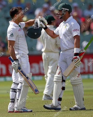Faf Du Pessis Jacques Kallis South Africa's Faf Du Pessis, left, and batting partner Jacques Kallis celebrate after Du Plssis make 100 runs against Australia on the final day of their cricket test match in Adelaide, . At stumps South Africa need 430 runs for the win