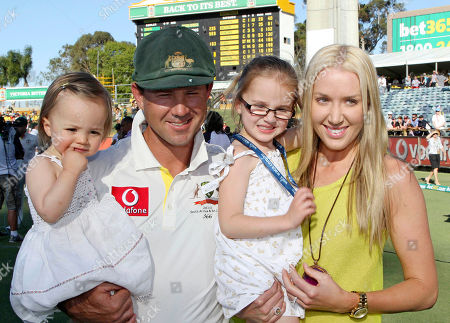 Stock Picture of Ricky Ponting, Rianna Ponting, Emmy Ponting, Matisse Ponting Australia's Ricky Ponting with his wife Rianna and daughters Emmy, second right, and Matisse pose for a photo after South Africa's win in the third cricket test match in Perth, Australia, . Ponting is retiring from test cricket with this his last match