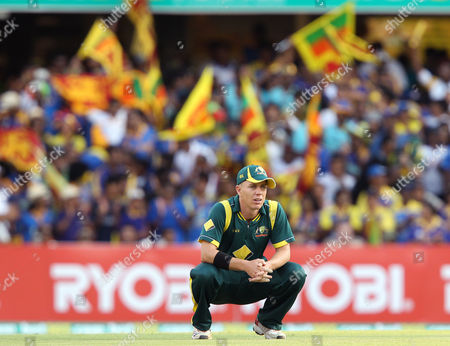 Xavier Doherty Australia's Xavier Doherty watches as Sri Lanka's supporters in the background celebrate their victory over Australia during their One Day International cricket match in Brisbane, Australia