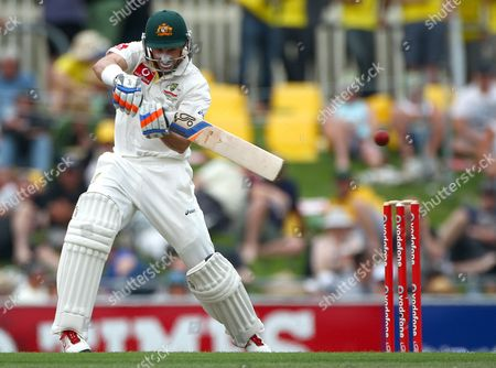 Australia's Mike Hussey bats against Sri Lanka on the first day of their cricket test match at Bellerive Oval in Hobart