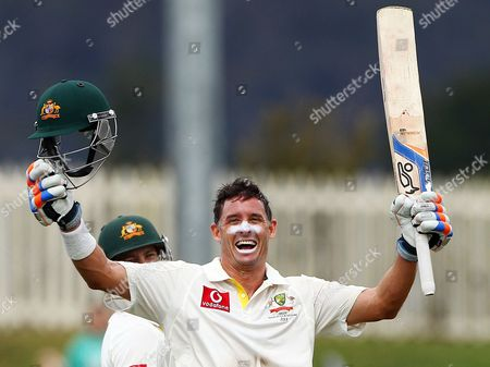 Mike Hussey Australia's Mike Hussey celebrates after making 100 runs against Sri Lanka on the second day of their cricket test match at Bellerive Oval in Hobart, Australia
