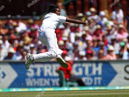 Sri Lanka's Nuwan Pradeep throws to assist in a run out of Australia's Ed Cowan for 4 runs on the second day of their cricket test match in Sydney, Australia, . Sri Lanka made 294 all out in their first innings
