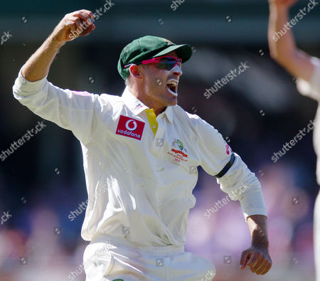 Stock Image of Mike Hussey Australia's Mike Hussey celebrates catching out Sri Lanka's Thilan Samaraweera for no score on the third day of their cricket test match in Sydney . Australia are declared 432 for 9 in reply to Sri Lanka's 294 all out in their first innings