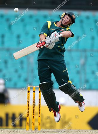 Australia's David Hussey jumps to avoid a bouncer from Sri Lanka's Lasith Malinga during their one day international cricket match in Sydney, Australia