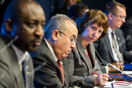 Tieman Coulibaly, Catherine Ashton, Ramtane Lamamra, Jeffrey Feltman EU High Representative for Foreign Policy Catherine Ashton, 2nd right, looks at Mali's foreign affairs minister Tieman Coulibaly, left, as they address the media together with African Union Commissioner for Peace and Security Ramtane Lamamra, 2nd left, and United Nations under secretary general for political Affairs Jeffrey Feltman, right, after a ministerial meeting of the support and follow-up group on the situation in Mali, at the European Council building in Brussels, . Governments and international organizations meet on Tuesday to find ways to reinforce military gains against Islamist rebels in Northern Mali, by supporting democracy, economic development, and human rights in one of the world's poorest countries