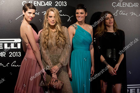Hanaa Ben Abdesslem, Petra Nemcova, Summer Rayne Oakes, Elisa Sednaoui Models, from left, Hanaa Ben Abdesslem, Petra Nemcova, Summer Rayne Oakes and Elisa Sednaoui pose for photos at the 2013 Pirelli Calendar red carpet event in Rio de Janeiro, Brazil, . The calendar debuted in 1964 as a racy way of promoting Italian tire maker Pirelli and has since grown into a fashion institution. The 2013 calendar was shot entirely in Rio by celebrated American photojournalist Steve McCurry