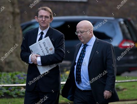 The editor of the London Daily Telegraph newspaper Tony Gallagher, left with editor of the London Independent newspaper Chris Blackhurst arrive for a meeting of fellow newspaper editors and the British Prime Minister David Cameron following the release of the Leveson media inquiry, at Downing Street in London,. Cameron has warned newspaper editors they must act quickly to set up an independent press regulator in the wake of a media ethics scandal