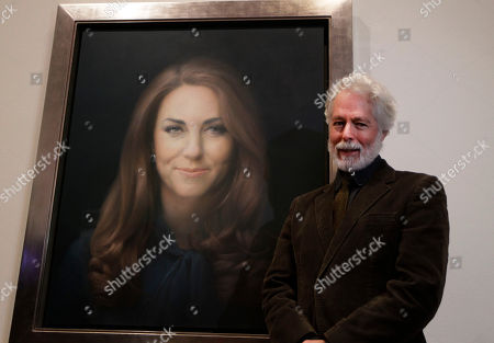Paul Emsley Artist Paul Emsley poses for photographers next to his newly-commissioned portrait of Kate, Duchess of Cambridge, on display at the National Portrait Gallery in London