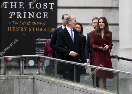 Duchess of Cambridge Kate, Duchess of Cambridge, leaves the National Portrait Gallery in London accompanied by Director of National Portrait Gallery, Sandy Nairne, after viewing a newly-commissioned portrait of her by artist Paul Emsley