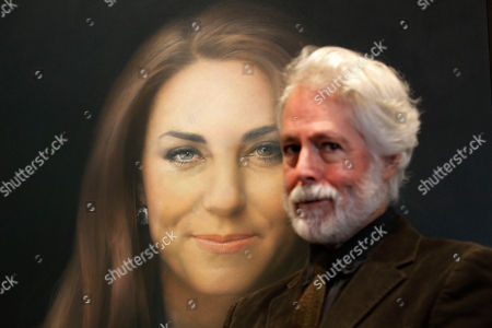 Stock Picture of Paul Emsley Artist Paul Emsley poses for photographers next to his newly-commissioned portrait of Kate, Duchess of Cambridge, on display at the National Portrait Gallery in London