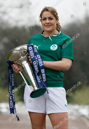 Fiona Coughlan Women's team captain Fiona Coughlan of Ireland poses with the trophy during the launch of the 2013 Six Nations Rugby Union Championship in London