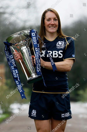 Stock Image of Susie Brown Women's team captain Susie Brown of Scotland poses with the trophy during the launch of the 2013 Six Nations Rugby Union Championship in London