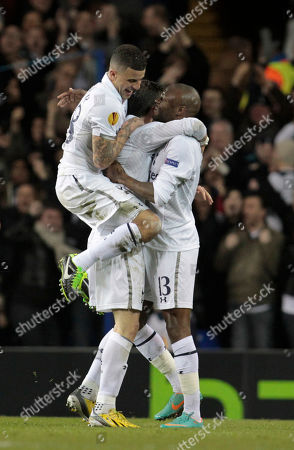 Gareth Bale, William Gallas, Kyle Walker Tottenham Hotspur's Gareth Bale, center, celebrates his goal against Lyon with teammates William Gallas, right, and Kyle Walker during their Europa League round of 32 first leg soccer match at White Hart Lane, London