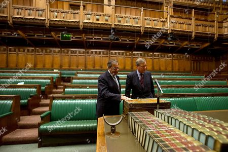Leon Panetta, Andrew Robathan Inside the House of Commons, Andrew Robathan, Minister of State for the Armed Forces of the United Kingdom, right, leads U.S. Defense Secretary Leon Panetta on a tour of the Houses of Parliament in London on