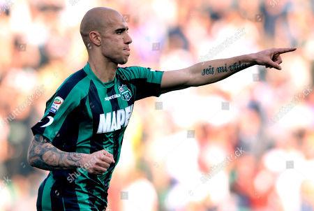 Sassuolo's Simone Zaza celebrates after scoring a goal during a Serie A soccer match against Catania, at Reggio Emilia's Mapei stadium, Italy