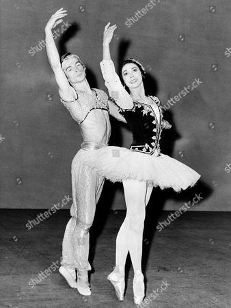 "Prima Ballerina Dame Margot Fonteyn and Russian Dancer Rudolf Nureyev rehearsing a scene from ""La Corsaire"" at the Royal Opera House in London"