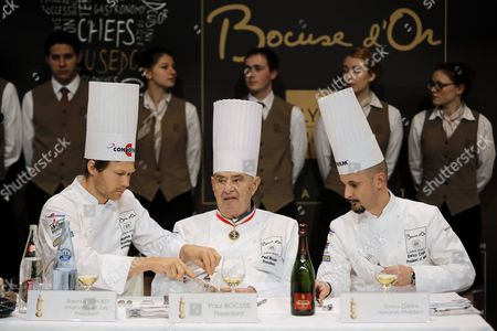 """French chef Paul Bocuse, center, tastes a dish with Danish chef Rasmus Kofoed, left, and Italian chef Enrico Crippa, right, during the """"Bocuse d'Or"""" (Golden Bocuse) trophy, at the 14th World Cuisine contest, in Lyon, central France, . The contest, a sort of world cup of the cuisine, was started in 1987 by Lyon chef Paul Bocuse to reward young international culinary talents"""