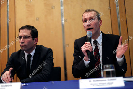 """French Junior minister for Consumption Benoit Hamon, left, and Junior minister for food-processing Guillaume Garot, right, give a press conference, in Paris, . A maze of trading between meat wholesalers has made it increasingly difficult to trace the origins of food - enabling horsemeat disguised as beef to be sold in frozen meals across Europe. France's agricultural minister said Monday that regulators must find a way """"out of the fog"""
