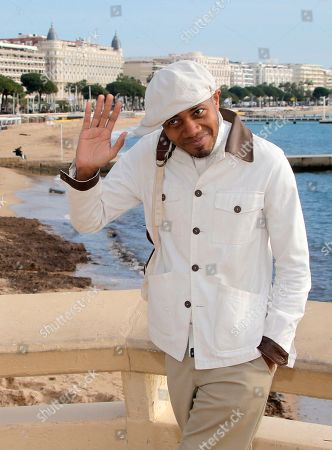 Stock Image of American electronic and experimental hip hop musician DJ Spooky poses at the 47th MIDEM (International record music publishing and video music market) in Cannes, southern France