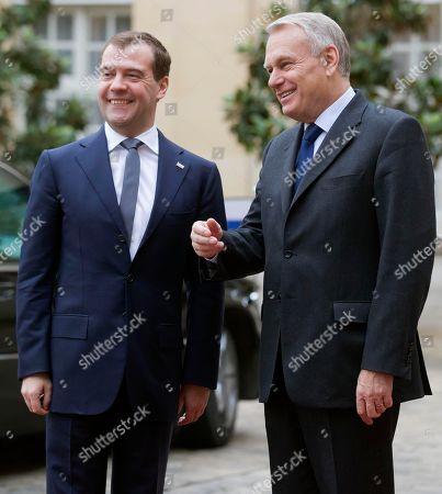 Jean-Marc Ayrault, Dimitry Medvedev Russian Premier Minister Dmitry Medvedev, left, is welcomed by French Prime Minister Jean-Marc Ayrault, right, at Matignon in Paris