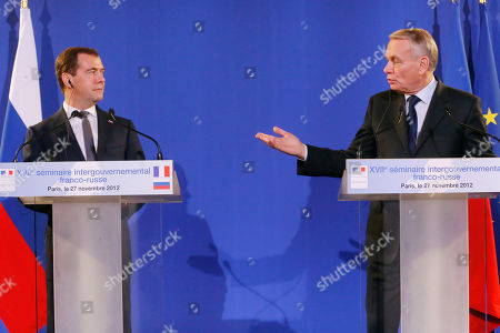 Jean-Marc Ayrault, Dimitry Medvedev Russian Prime Minister Dmitry Medvedev, left, and French Prime Minister Jean-Marc Ayrault speak to the media during a joint press conference at quai d'Orsay in Paris