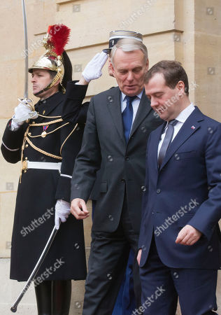 Jean-Marc Ayrault, Dimitry Medvedev French Prime Minister Jean-Marc Ayrault talks to Russian Prime Minister Dmitry Medvedev, right, as they leave Matignon after a meeting in Paris