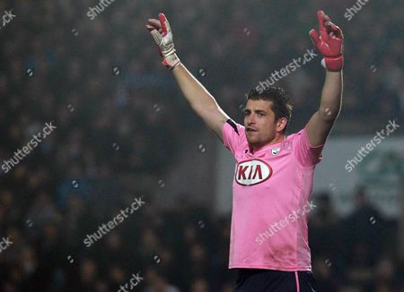 XXX Bordeaux's goalkeeper Cedric Carrasso reacts during his French League one soccer match against Marseille in Bordeaux, southwestern France