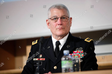 Stock Picture of The head of the U.S. Africa Command, General Carter Ham, attends to a debate at the University of Sciences Politiques, in Paris, . Some of the culprits in an attack on the U.S. consulate in Benghazi, Libya, had links to al-Qaida's North Africa arm, a top U.S. military official said Wednesday, adding that it remained unclear if the terror network led or organized the deadly assault whose victims included an American ambassador. Al-Qaida links had been suspected in the attack on Sept. 11, but not publicly detailed, and an investigation is underway. U.S. Ambassador to Libya Chris Stevens and three others were killed. The assault occurred around the same time that protests erupted in Muslim countries over an anti-Islam film made in the United States. Gen. Carter Ham, the head of the U.S. military's Africa Command, said some of the attackers had ties to Al-Qaida in the Islamic Maghreb, which was built on the remains of a former Algerian militant group