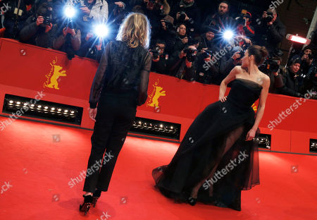 Arta Dobroshi, Christa Theret Actresses Arta Dobroshi right, and Christa Theret, left, arrive for the screening of the film Before Midnight to receive the special award Shooting Star at the 63rd edition of the Berlinale, International Film Festival in Berlin, Germany