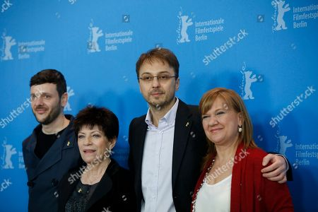 From left actors Bogdan Dumitrache, Luminita Gheorghiu, Director and producer Calin Peter Netzer and producer Ada Solomon pose during the photo call for the film Child's Pose at the 63rd edition of the Berlinale, International Film Festival in Berlin