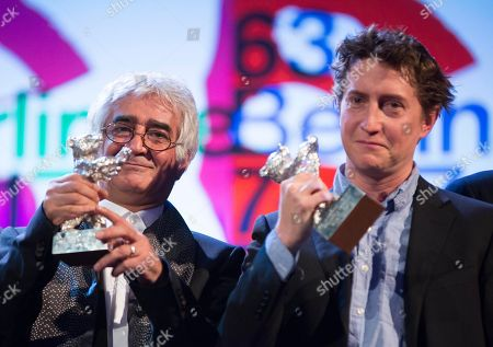 Kambuzia Partovi, David Gordon Green Director Kambuzia Partovi, left, holds the Silver Bear for Best Script for the film Closed Curtain and director David Gordon Green with his Silver Bear Best Director Award for his film Prince Avalanche during the closing ceremony at the 63rd edition of the Berlinale, International Film Festival in Berlin