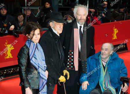 From left, composer Florencia di Concilio, cinematographer Edward Lachman, actor Johnathan Pryce and director George Sluizer arrive for the screening of the film Dark Blood at the 63rd edition of the Berlinale, International Film Festival in Berlin