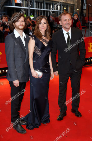 Actors Mateusz Kosciukiewicz, Maja Ostaszewska and Andrzej Chyra arrive for the screening of the film In The Name Of at the 63rd edition of the Berlinale, International Film Festival in Berlin, Friday, Feb.8,2013