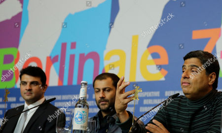 Stock Photo of From right, producer Ronnie Screwvala, director Abhishek Kapoor and producer Siddharth Roy Kapur ISC during the press conference of the film Kai Po Che at the 63rd edition of the Berlinale, International Film Festival in Berlin